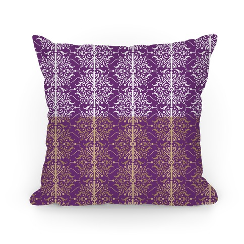 Purple and Gold Medieval Ombre Pattern Pillow