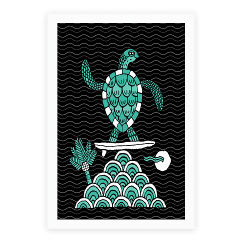 Surf Turtle Poster