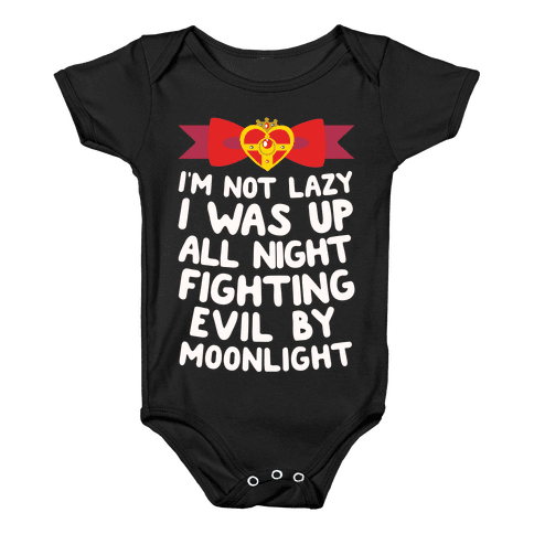 I Was Up Fighting Evil By Moonlight Baby Onesy