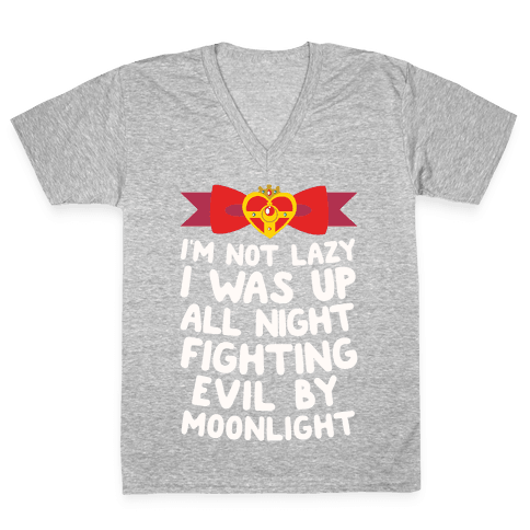I Was Up Fighting Evil By Moonlight V-Neck Tee Shirt