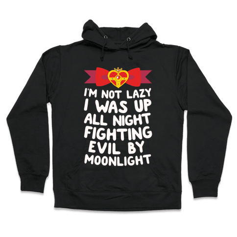 I Was Up Fighting Evil By Moonlight Hooded Sweatshirt