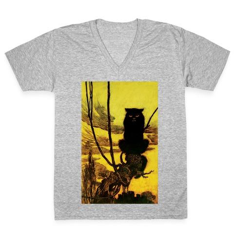 Black Cat V-Neck Tee Shirt