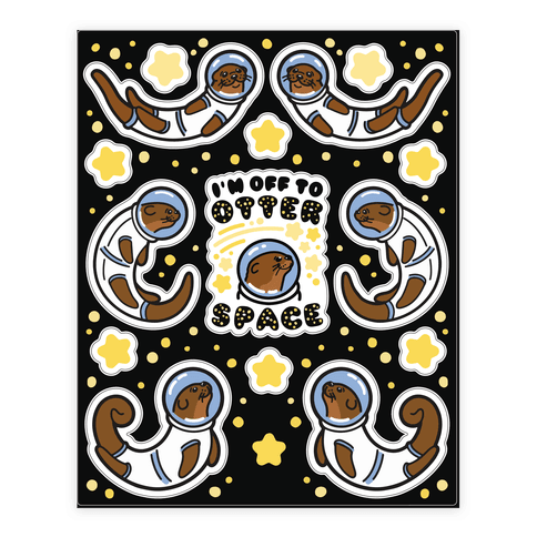 Otters In Space Sheet Sticker/Decal Sheet