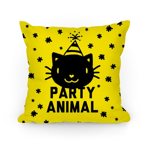 Party Animal Pillow (Black on Yellow) Pillow