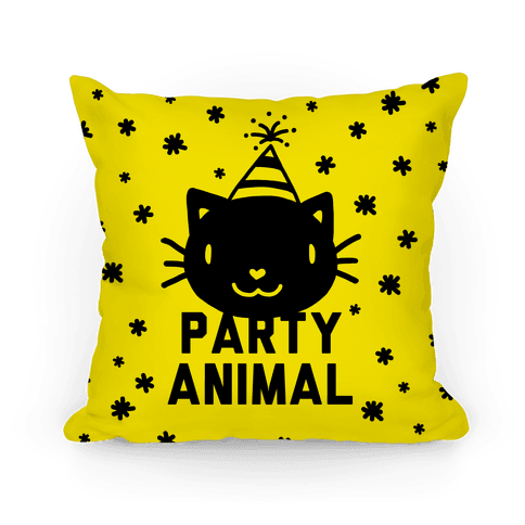 Party Animal Pillow (Black on Yellow)