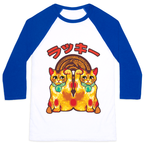 Lucky Cat Pop Art Baseball Tee