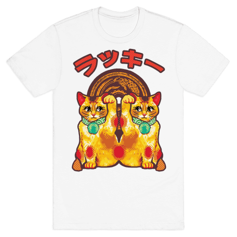 Lucky Cat Pop Art Mens T-Shirt