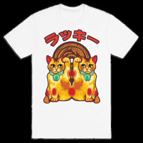 Lucky Cat Pop Art Mens T-Shirt