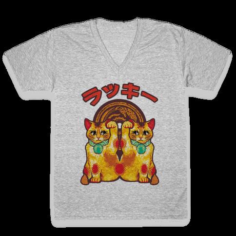 Lucky Cat Pop Art V-Neck Tee Shirt