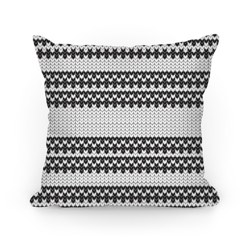 Faux Knitted Sweater Black and White Pattern Pillow