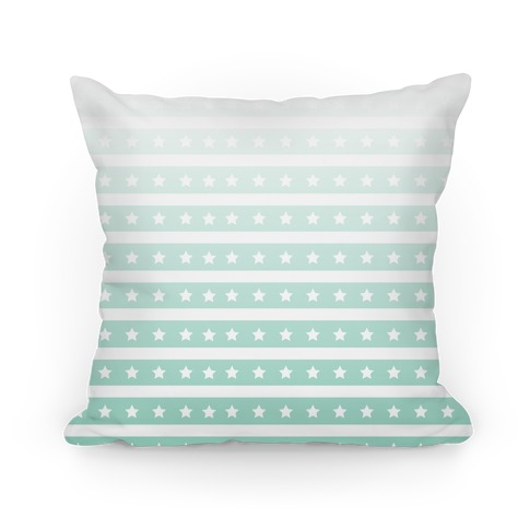 Mint Ombre Stars and Stripes Pattern Pillow