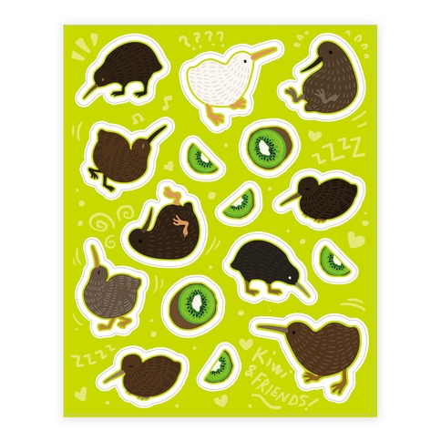 Kiwi Pattern Sticker and Decal Sheet