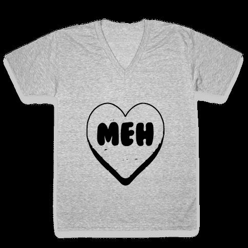 Valentine's Day Heart Meh V-Neck Tee Shirt