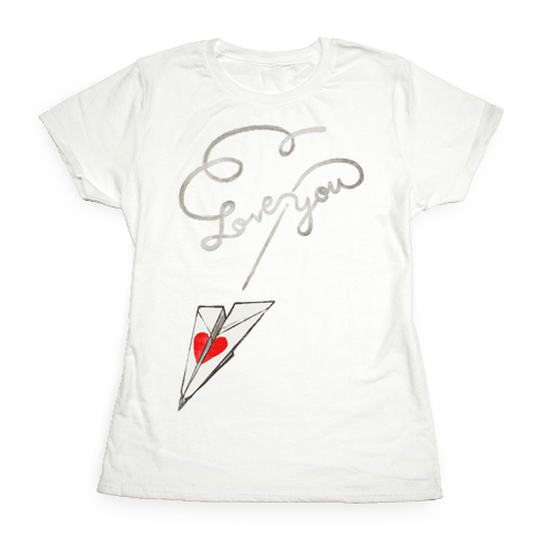 Love Letter Paper Airplane Womens T-Shirt