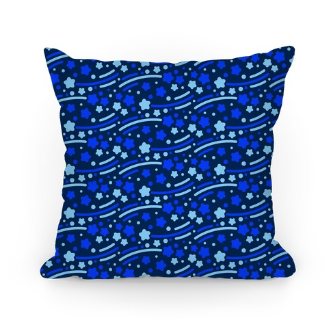 Blue Shooting Stars Pattern Pillow