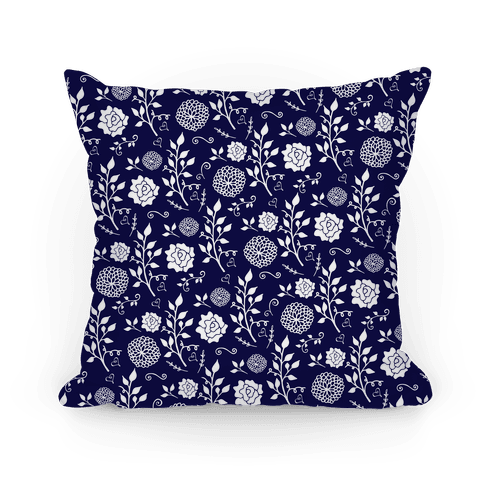 Navy Whimsical Floral Pattern Pillow
