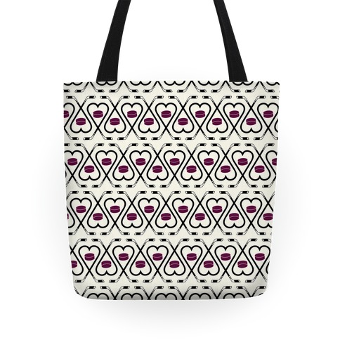 Hockey Sticks and Puck Pattern Tote
