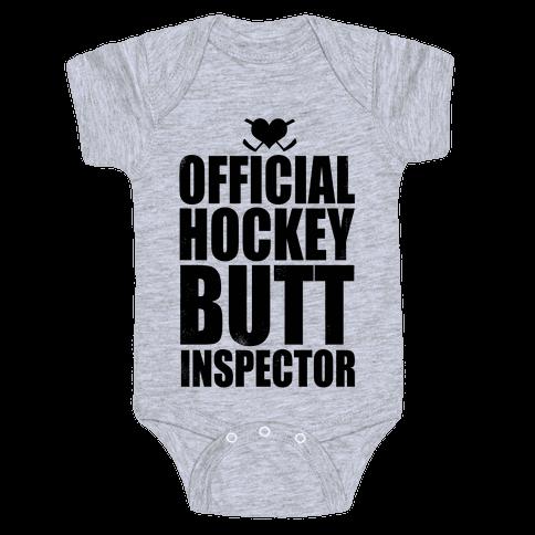 Official Hockey Butt Inspector Baby Onesy