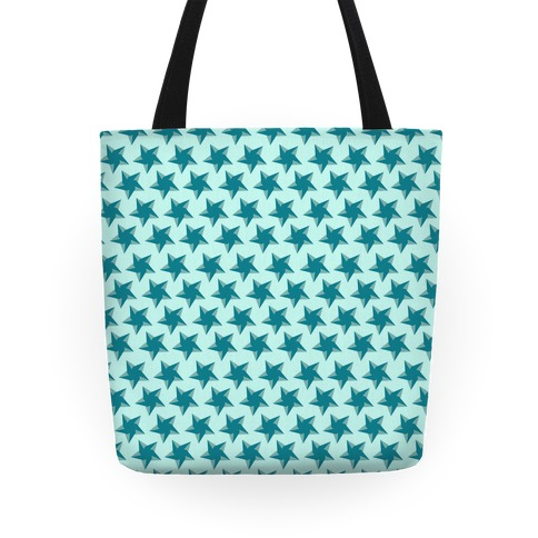 Teal Star Pattern Tote