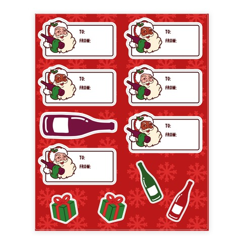 Santa Merlot Gift Tag Sticker and Decal Sheet