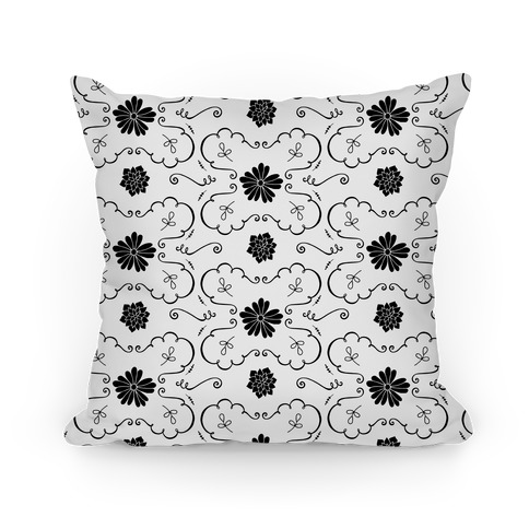 Black and White Floral Wallpaper Pattern Pillow