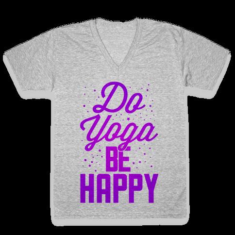 Do Yoga Be Happy V-Neck Tee Shirt