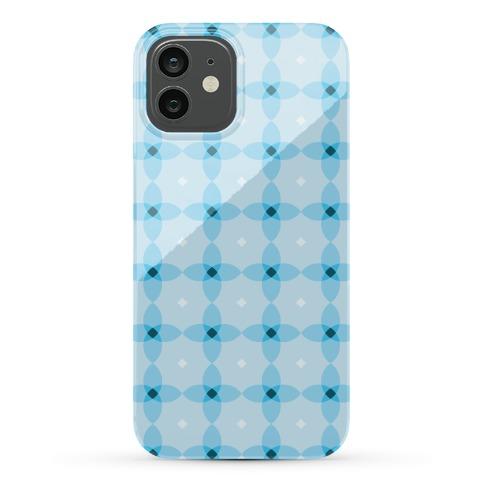 Blue Geometric Flower Pattern Phone Case