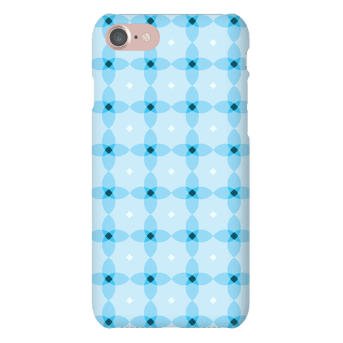 Blue Geometric Flower Pattern Phone Case