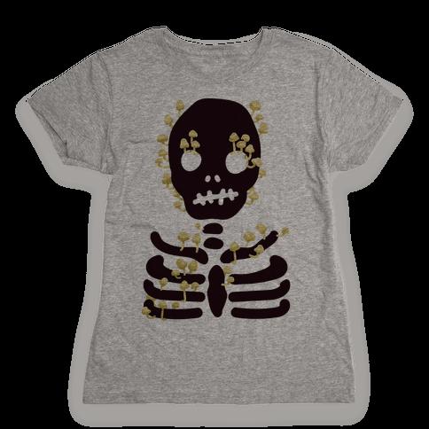 Mushroom Skeleton Womens T-Shirt