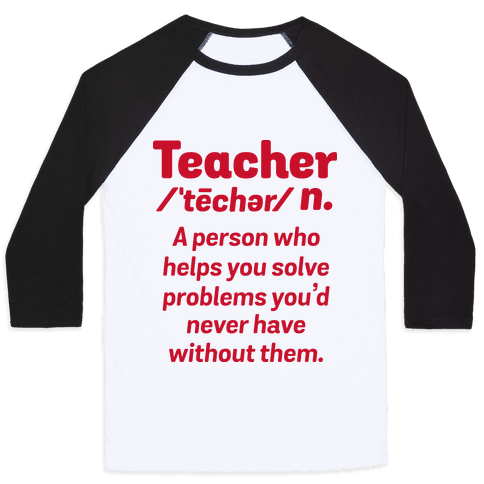 Teacher Definition Baseball Tee