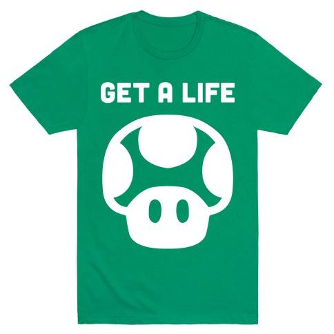 Green Mushroom (Get A Life) Mens T-Shirt