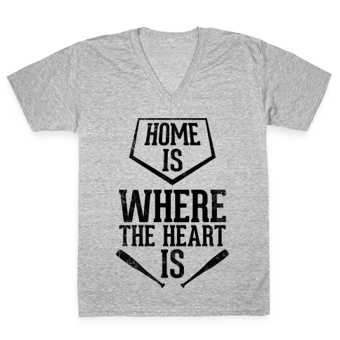 Home Is Where The Heart Is (Vintage) V-Neck Tee Shirt