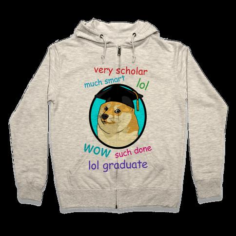 Doge Graduate Zip Hoodie