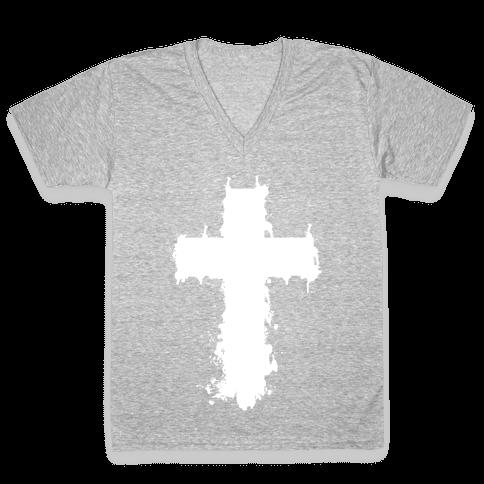 Splatter Cross V-Neck Tee Shirt