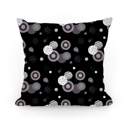 Black and White Radials and Circles Pattern Pillow