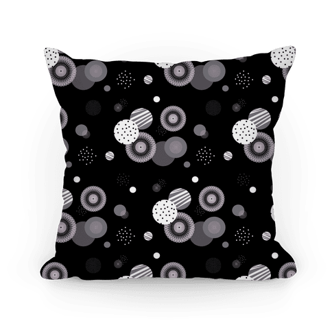 Black and White Radials and Circles Pattern