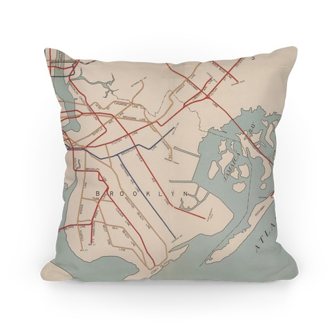 Vintage Brooklyn Map Pillow