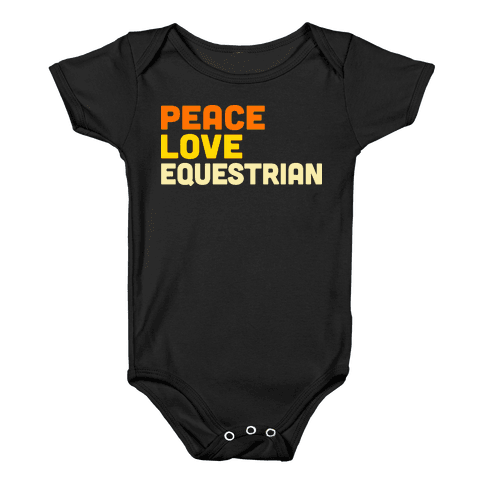 Peace, Love, Equestrian Baby Onesy