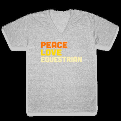 Peace, Love, Equestrian V-Neck Tee Shirt