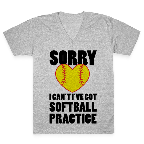 Softball Practice V-Neck Tee Shirt