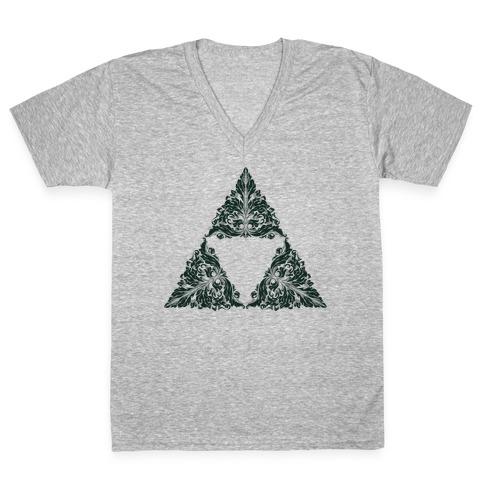 Floral Triforce V-Neck Tee Shirt