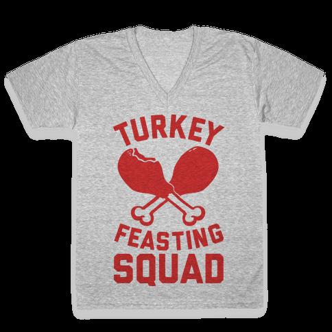 Turkey Feasting Squad V-Neck Tee Shirt