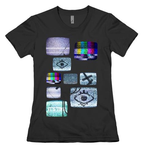 Static Tv Set Womens T-Shirt