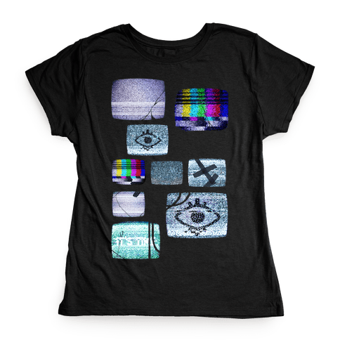 Static Tv Set Womens T-Shirt