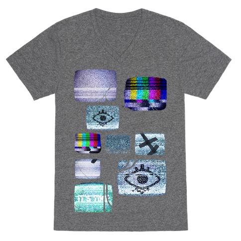 Static Tv Set V-Neck Tee Shirt