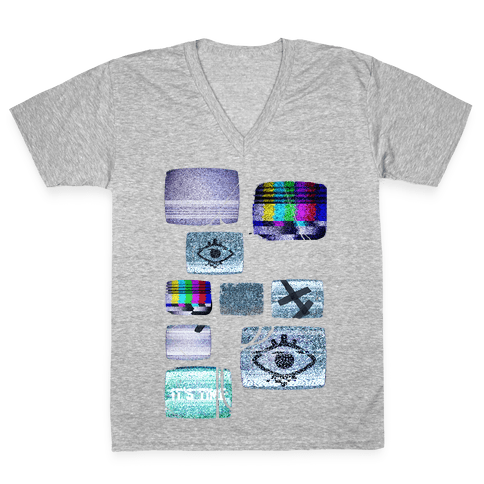 Static Tv Set V-Neck Tee Shirt