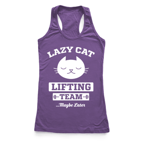 Lazy Cat Lifting Team Racerback Tank Top