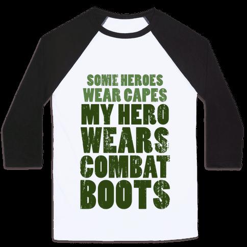My Hero Wears Combat Boots (Tank) Baseball Tee