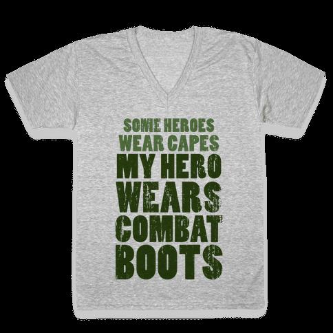My Hero Wears Combat Boots (Tank) V-Neck Tee Shirt