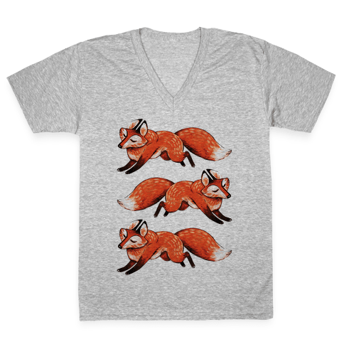 Running Foxes V-Neck Tee Shirt
